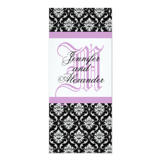 Wedding Invitation Monogram Purple & White Damask