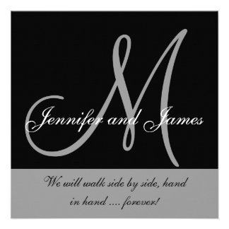 Wedding Invitation Monogram Saying Black White
