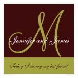 Wedding Invitation Monogram Saying Green Brown