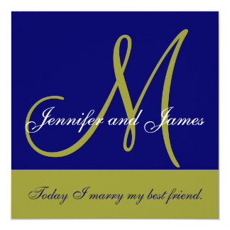 "Wedding Invitation Monogram Saying Name Green Navy 5.25"" Square Invitation Card"