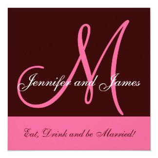 "Wedding Invitation Monogram Saying Name Pink Brown 5.25"" Square Invitation Card"