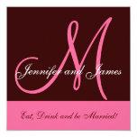 Wedding Invitation Monogram Saying Name Pink Brown