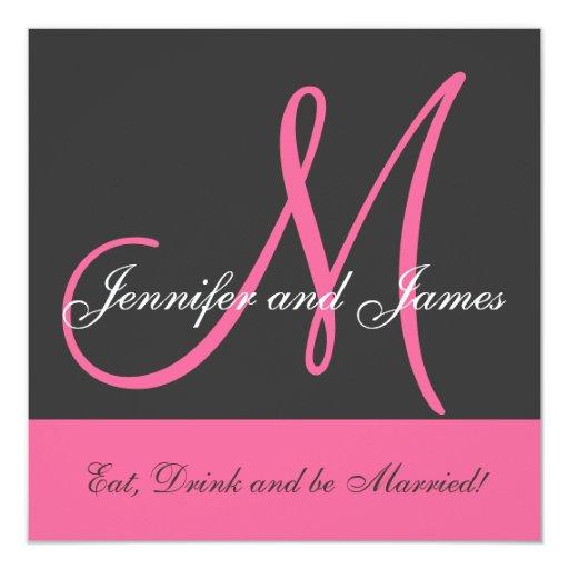 Wedding Invitation Monogram Saying Name Pink Grey