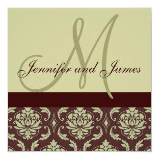"Wedding Invitation Monogram Taupe Brown Damask 5.25"" Square Invitation Card"