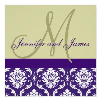 "Wedding Invitation Monogram Taupe Purple Damask 5.25"" Square Invitation Card"