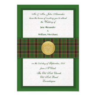 Wedding Invitation Murphy Family Tartan in Greens