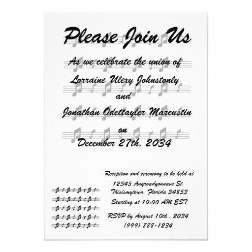 Wedding Invitation Music Notes On Staffs 5 X 7 Invitation Card