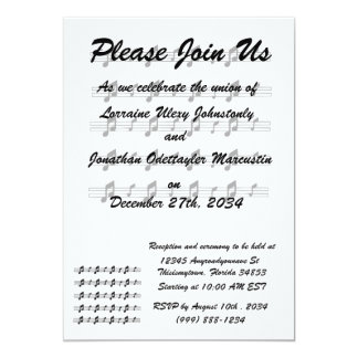 Wedding invitation music notes on staffs