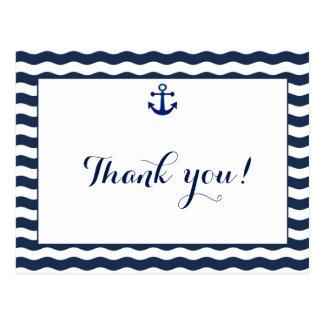 Wedding Invitation   Nautical Navy Waves Thank You Postcard
