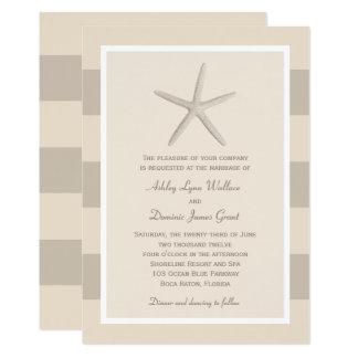 Wedding Invitation | Neutral Starfish Stripes