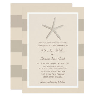 Wedding Invitation | Neutral Starfish Stripes