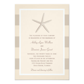"Wedding Invitation | Neutral Starfish Stripes 5"" X 7"" Invitation Card"