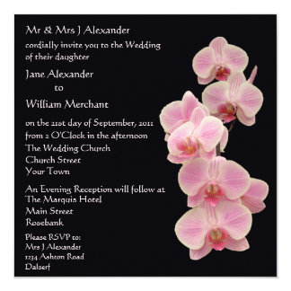 Wedding Invitation Orchid Floral Photo on Black