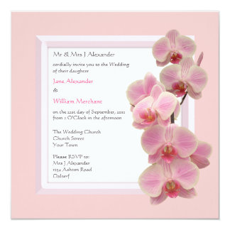 Wedding Invitation Orchid Floral Photo on Pink