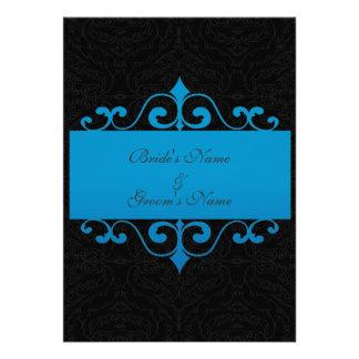 Wedding Invitation - Pastel Ocean Blue and Black