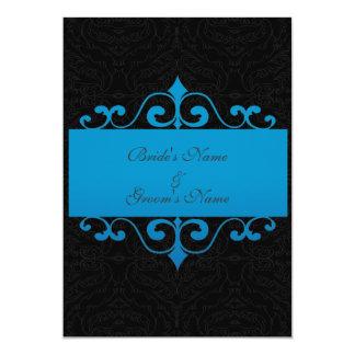 "Wedding Invitation - Pastel Ocean Blue and Black 5"" X 7"" Invitation Card"
