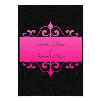 "Wedding Invitation - Pastel Pink on Black Damask 5"" X 7"" Invitation Card"