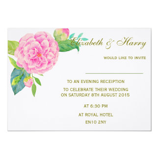 Wedding Invitation Pink Camellia