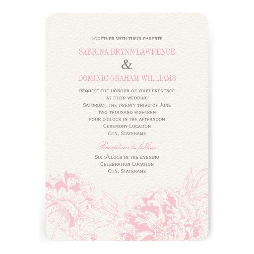 Wedding Invitation | Pink Floral Peony Design
