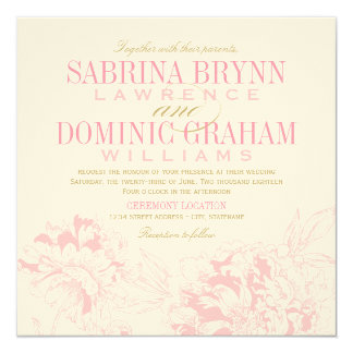 "Wedding Invitation | Pink Floral Peony Design 5.25"" Square Invitation Card"