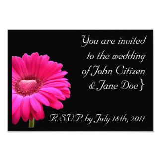 Wedding Invitation: Pink Gerbera with loveheart Card