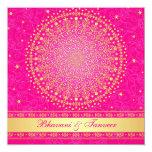 "Wedding Invitation   Pink Gold Scrolls Stars 5.25"" Square Invitation Card"
