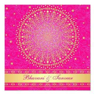 "Wedding Invitation | Pink Gold Scrolls Stars 5.25"" Square Invitation Card"