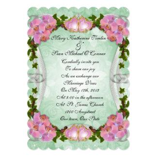 Wedding Invitation pink orchids