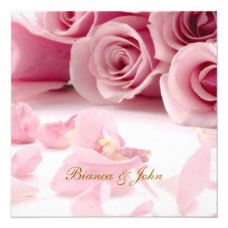 "Wedding Invitation Pink Roses Elegant 5.25"" Square Invitation Card"