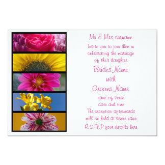 Wedding Invitation - Pink & Yellow Macro Flowers