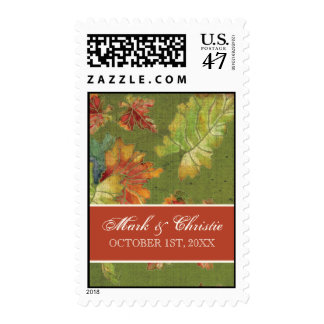 Wedding Invitation Postage Autumn Grape Leaf