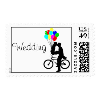 Wedding Invitation Postage Bike Balloon Stamp