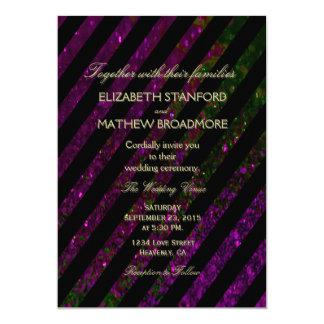 Wedding Invitation   Purple and Green Glitter