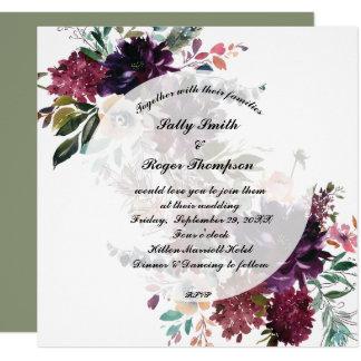 wedding invitation purple blue florals greenery