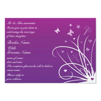 Wedding Invitation - Purple Butterfly Swirl