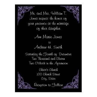 Wedding Invitation Purple Corners Black Postcard