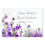 Wedding Invitation--Purple Flowers Horizon Card