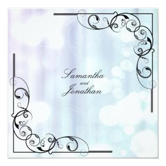 Wedding Invitation Purple Green Floral Leafy Swirl