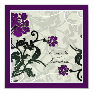 "Wedding Invitation Purple Green Floral Leafy Swirl 5.25"" Square Invitation Card"