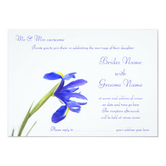 Wedding Invitation - Purple Iris Flower
