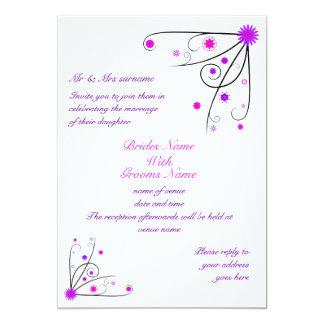 Wedding Invitation - Purple & Pink Flower Swirl