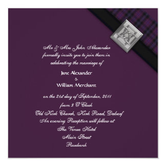 Wedding Invitation Purple Tartan & Celtic Knot Pin