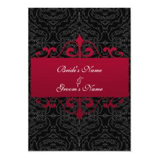 "Wedding Invitation - Red and Black 5"" X 7"" Invitation Card"
