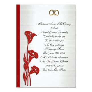 """Wedding Invitation red calla lily 5"""" X 7"""" Invitation Card"""