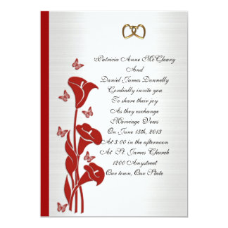 """Wedding Invitation red calla lily and butterflies 5"""" X 7"""" Invitation Card"""