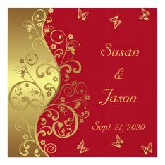 Wedding Invitation--red & Gold Swirls Card at Zazzle