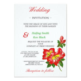 Wedding Invitation Red Orchid Wedding Flowers 2p