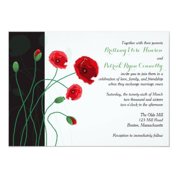 Wedding Invitation | Red Poppies with Black, Green