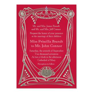 Wedding invitation red serenity & silver