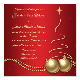 Wedding Invitation Red with Gold  Christmas Tree